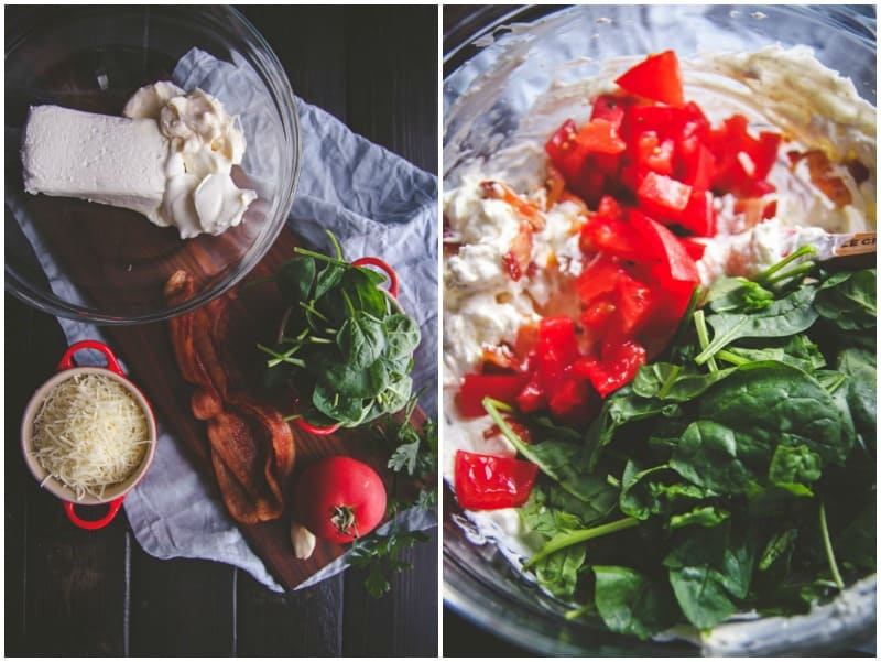 Cheesy blt dip ingredients -recipe from @Sweetphi