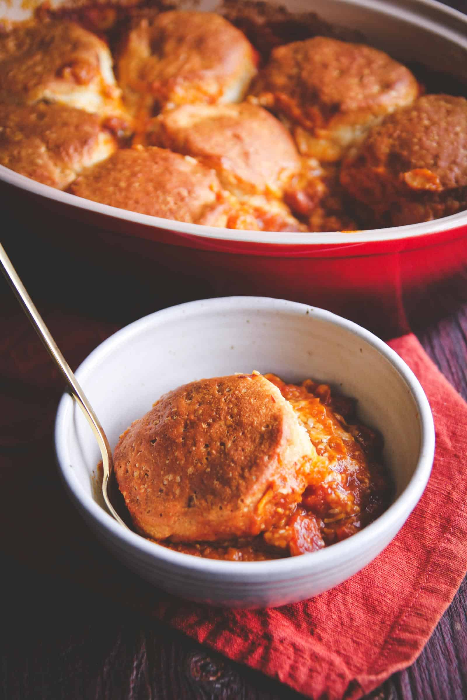 5 ingredient pumpkin chili cheese biscuit bake recipe. Easy fall dinner idea from @sweetphi