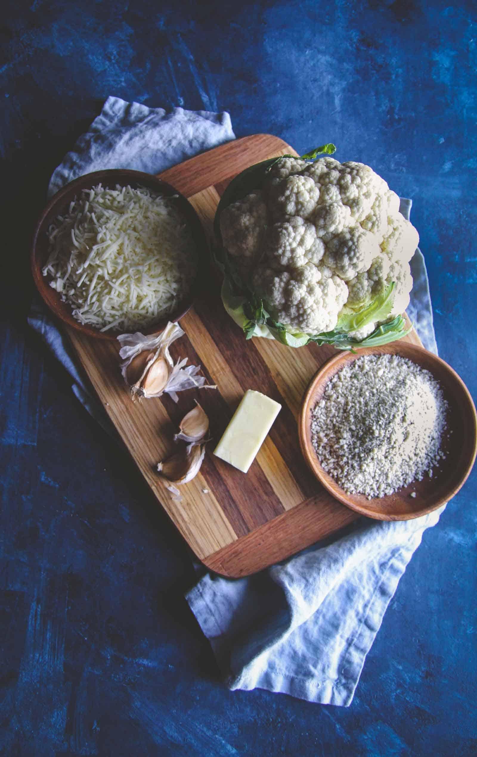 5 ingredient vegetarian side dish. Cheesy breadcrumb cauliflower from @sweetphi