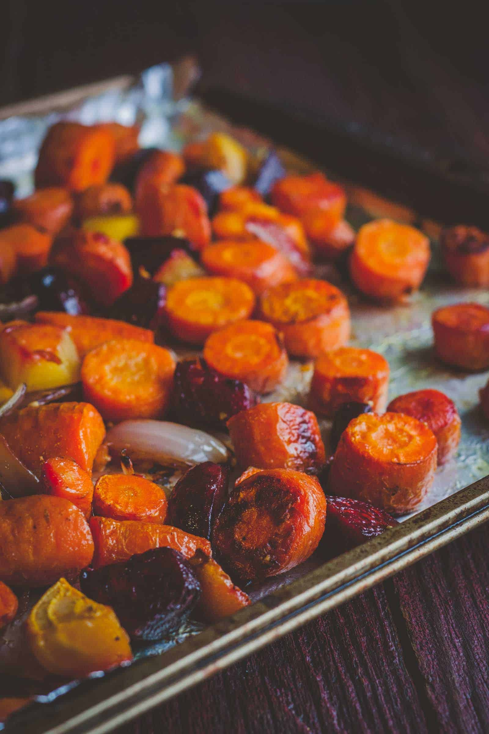 Roasted root vegetables. Roasted fall vegetables with fried goat cheese salad