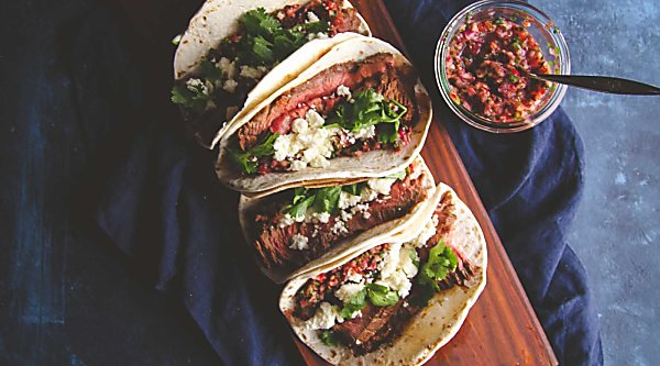 Steak tacos with fresh cranberry salsa from @sweetphi