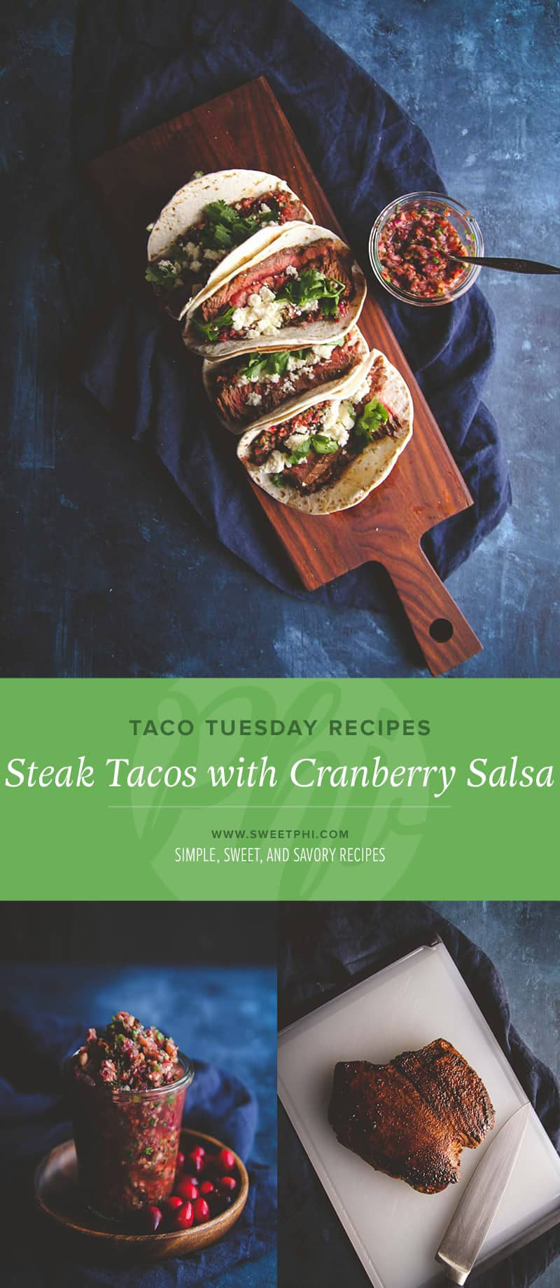 Taco Tuesday recipes - steak tacos with fresh cranberry salsa. Fall cranberry recipes, fresh cranberry recipes @sweetphi