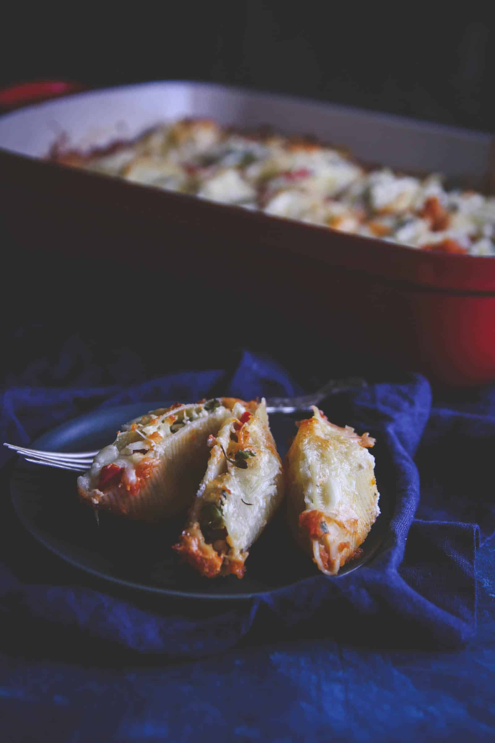 roasted vegetable stuffed shells recipe. A delicious meatless Monday vegetarian dinner recipe