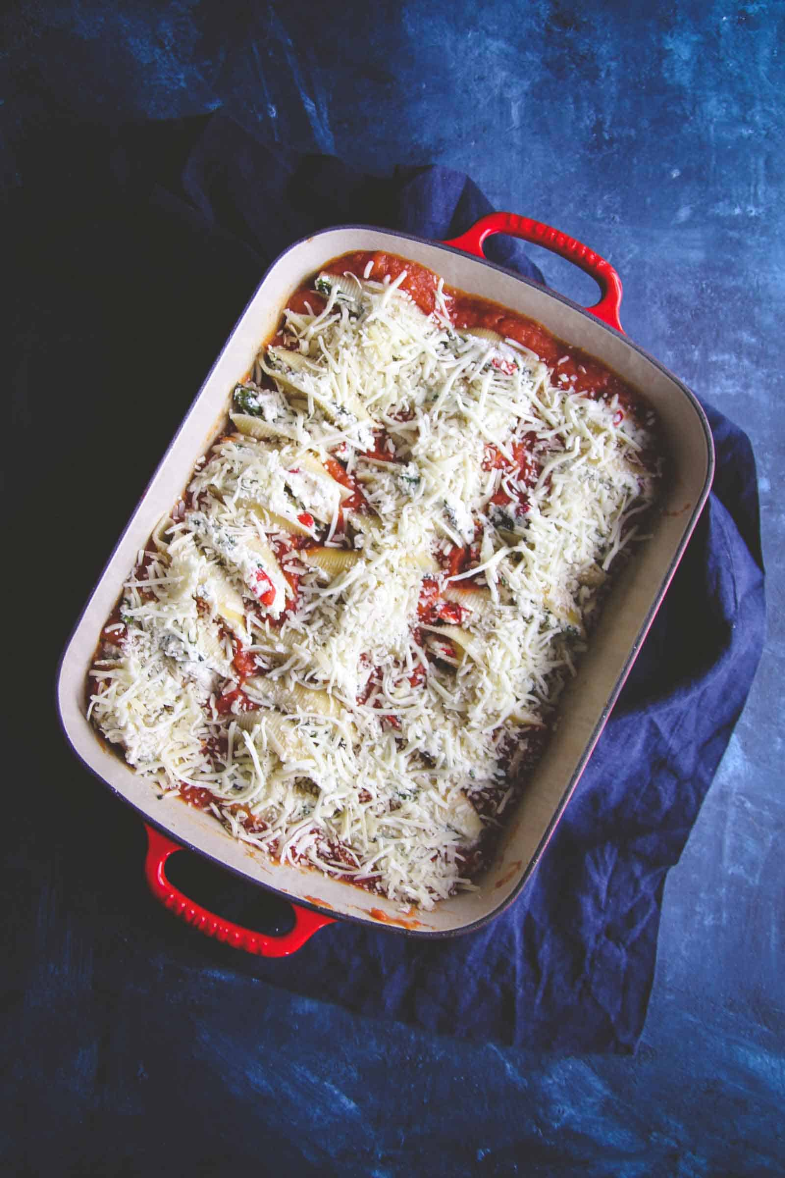 Roasted vegetable stuffed shells recipe