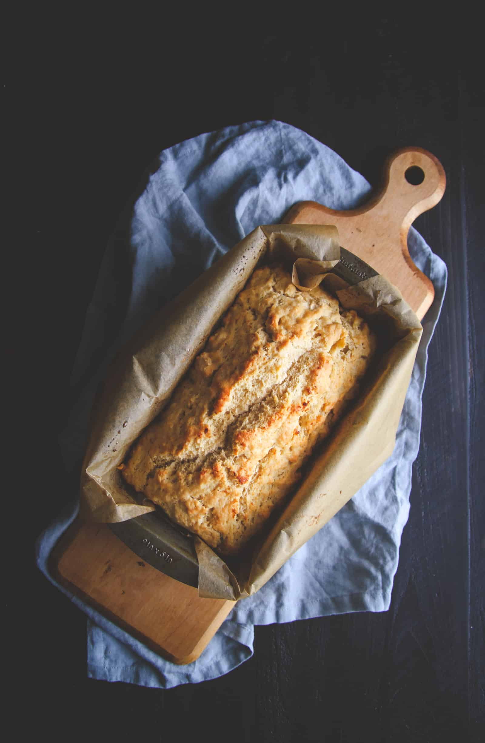 5 ingredient homemade beer bread recipe. Perfect for serving with dips.