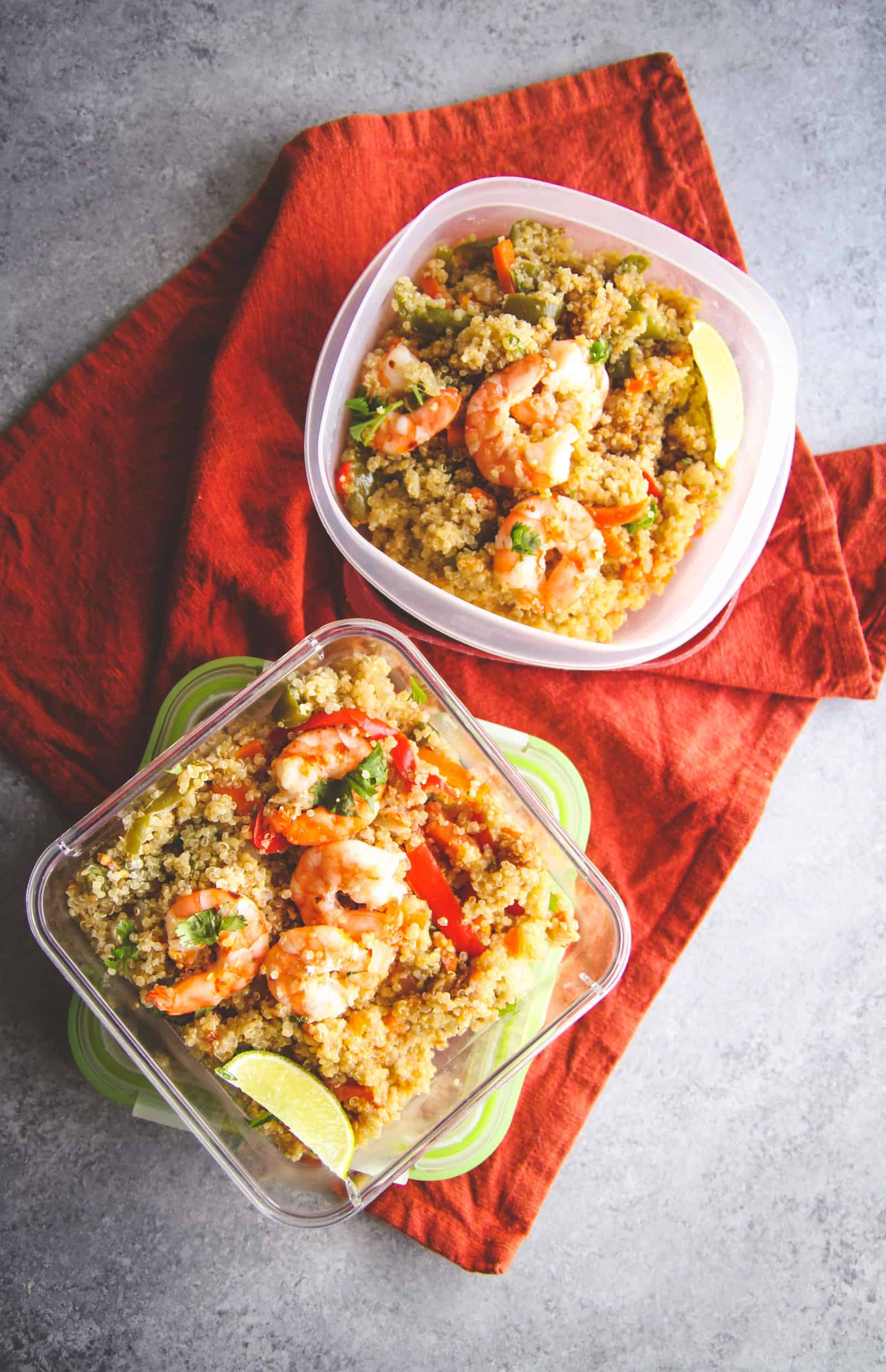 Healthy quinoa and shrimp for meal prep. Meal prepping recipes with qunioa