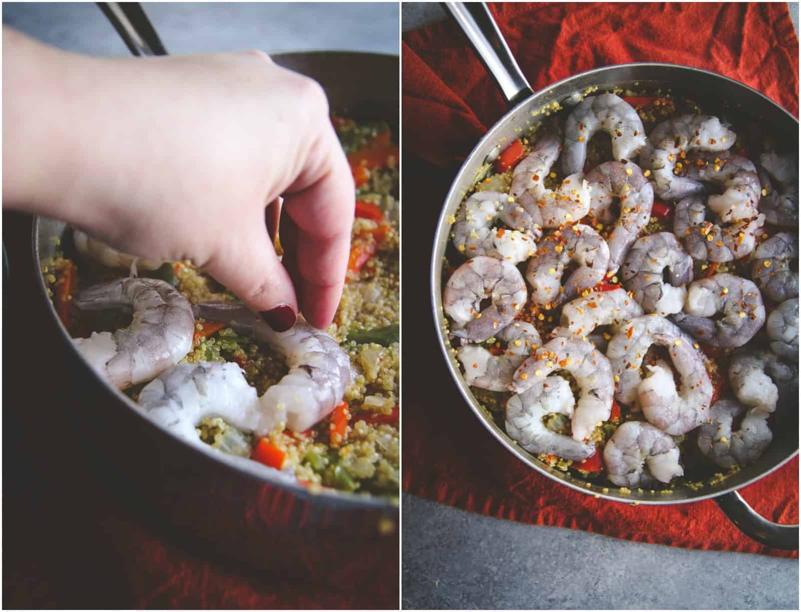 High protein one pot meal with shrimp and quinoa