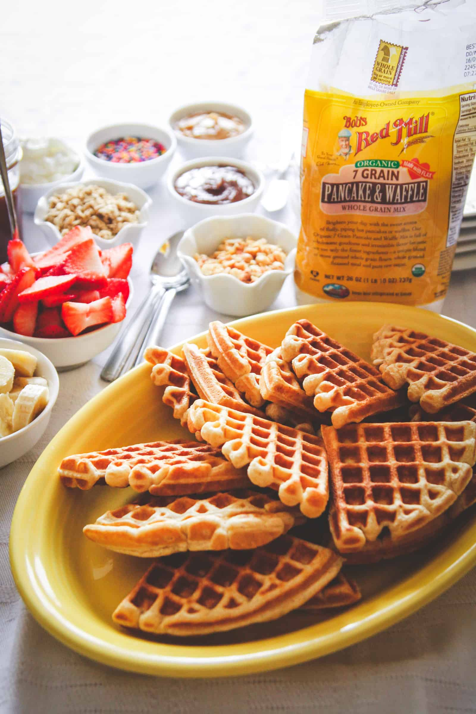 How to make a waffle bar, breakfast waffle bar, waffle bar for brunch
