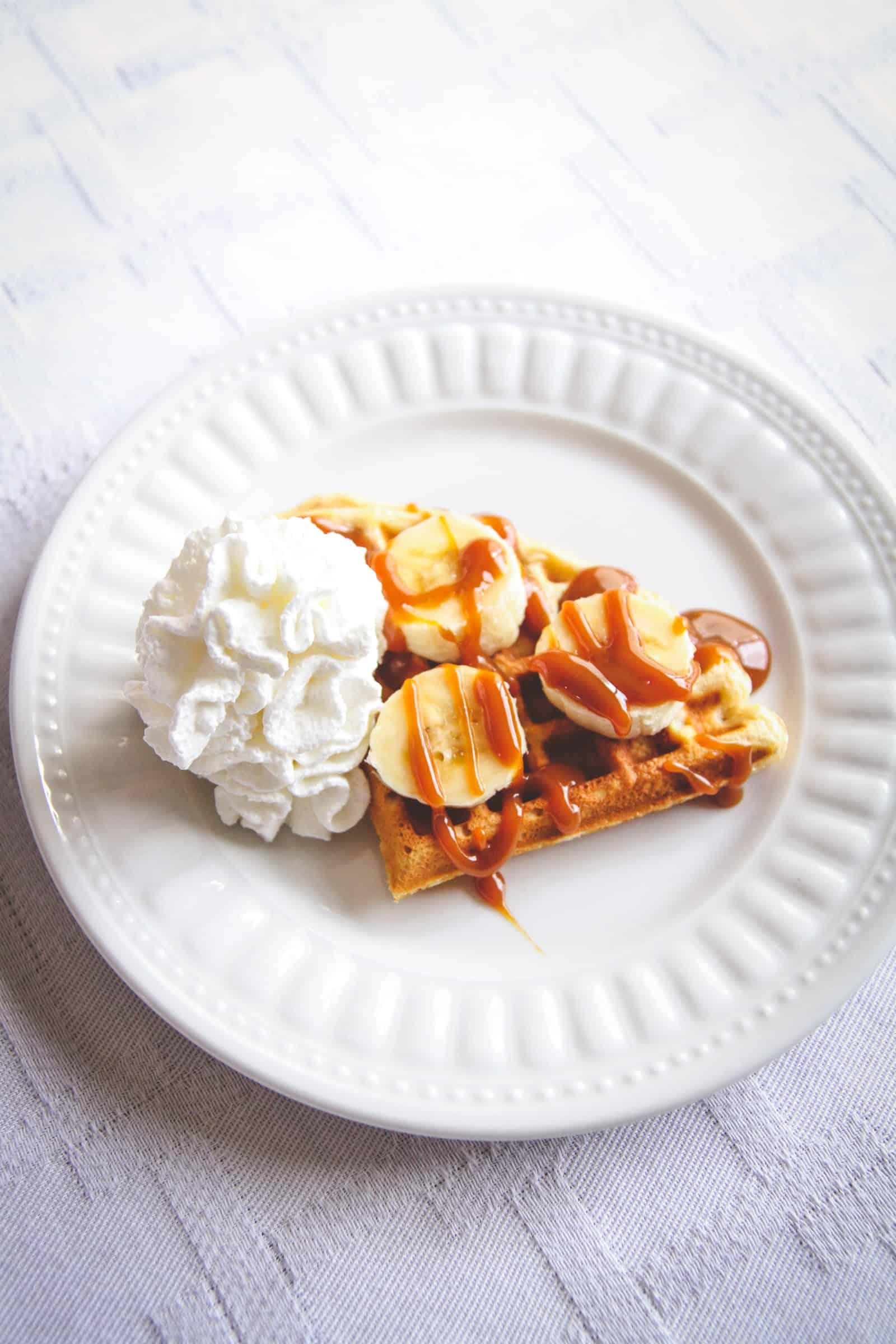 banana caramel waffles, waffle toppings, how to make a waffle bar