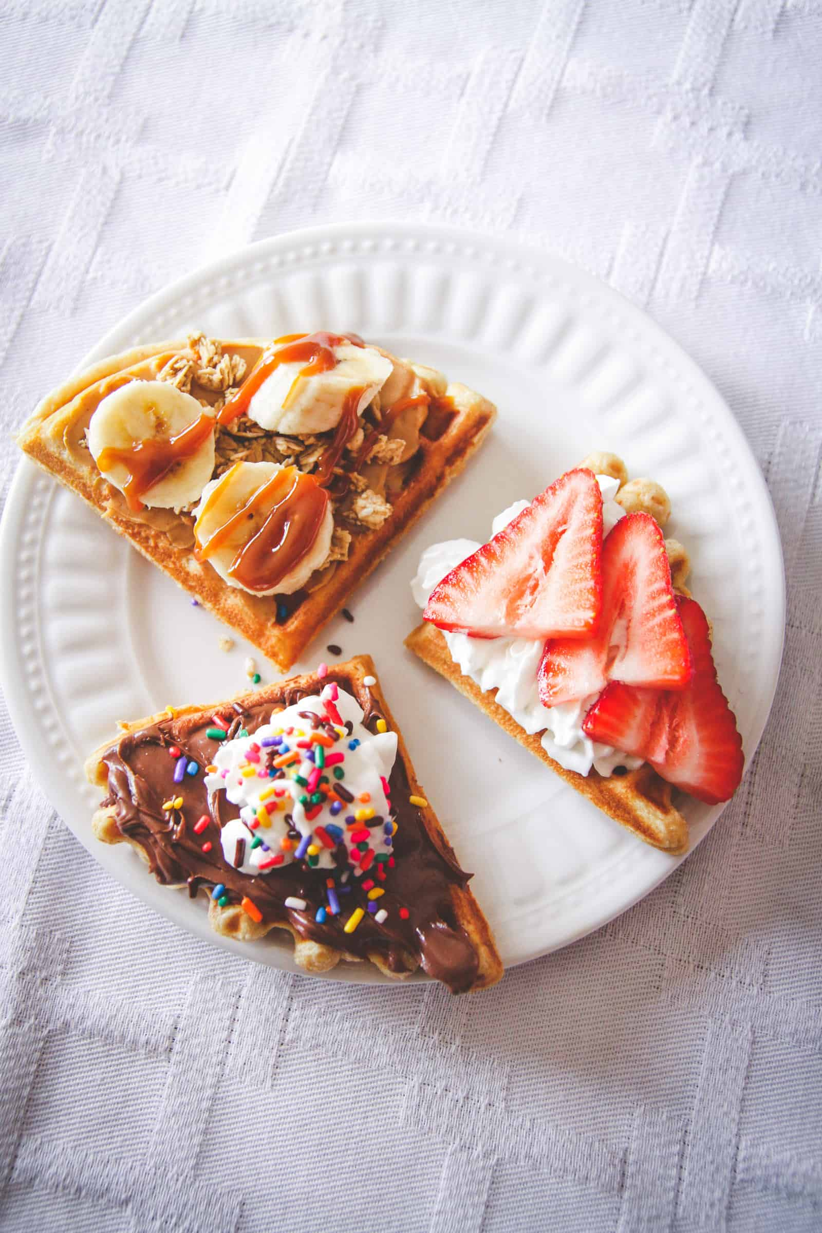 Waffle toppings, how to make a waffle bar, brunch waffle bar