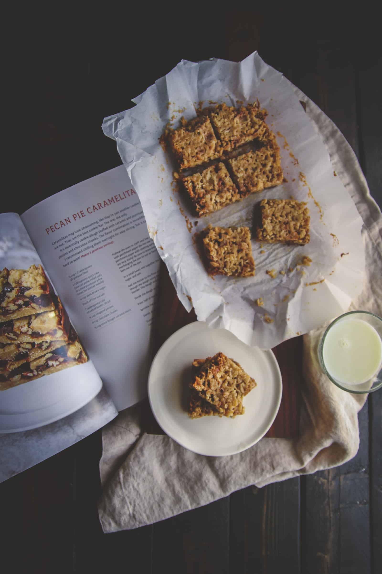 Pecan pie carmelita bars, dessert bars for two, dessert made in a loaf pan, pecan pie carmelitas, Sweet & Simple cookbook