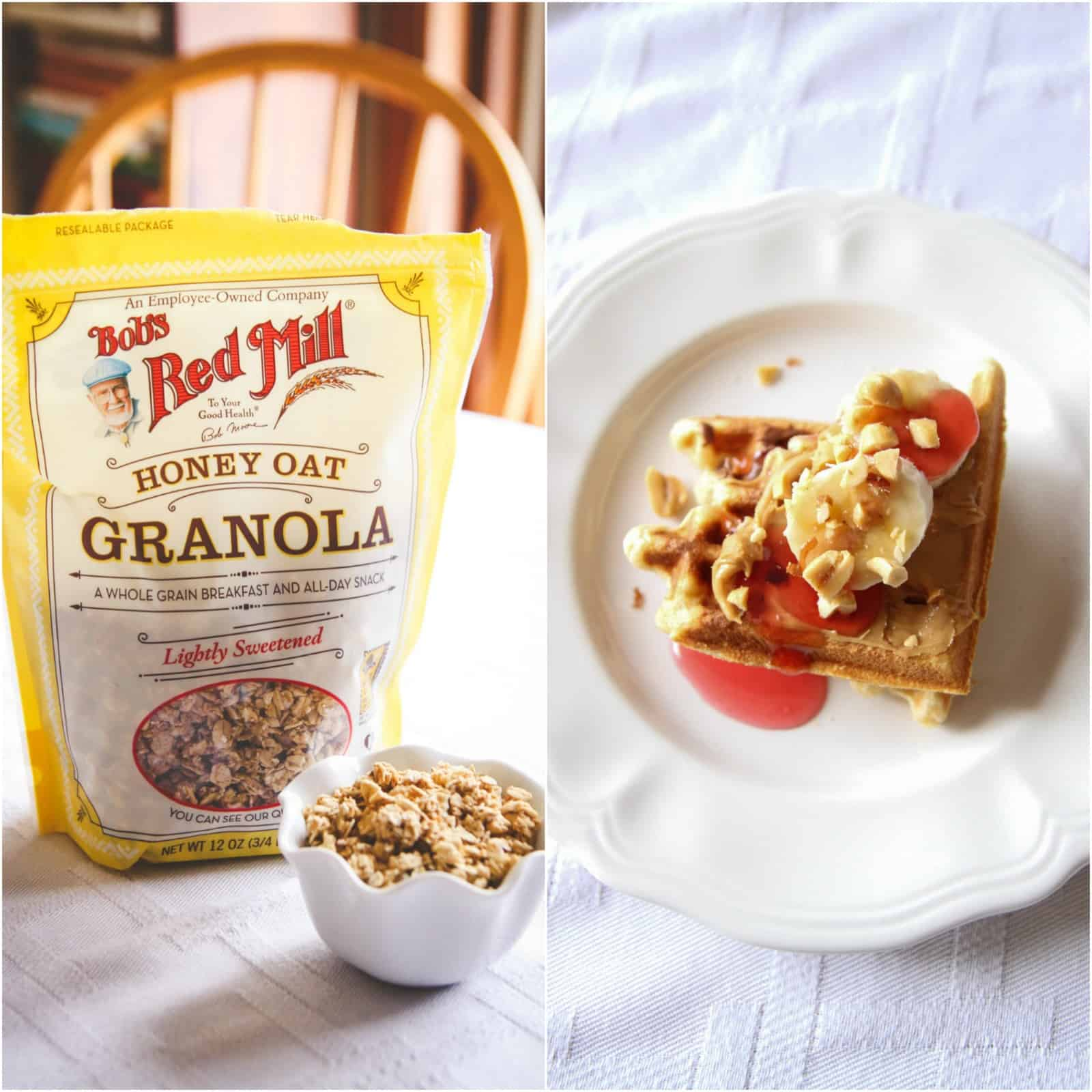 Waffles with granola toppings