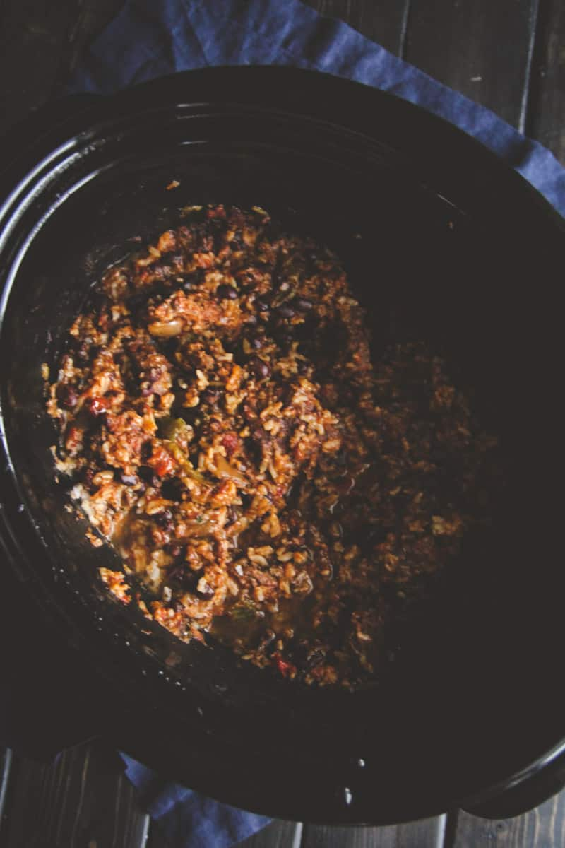 Crockpot 5 ingredient leftover white rice chili recipe