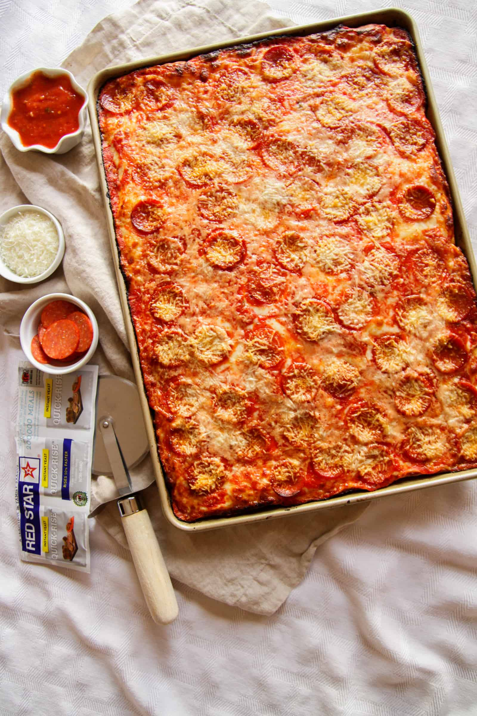 sheet pan pizza made with Red Star Yeast, square pizza