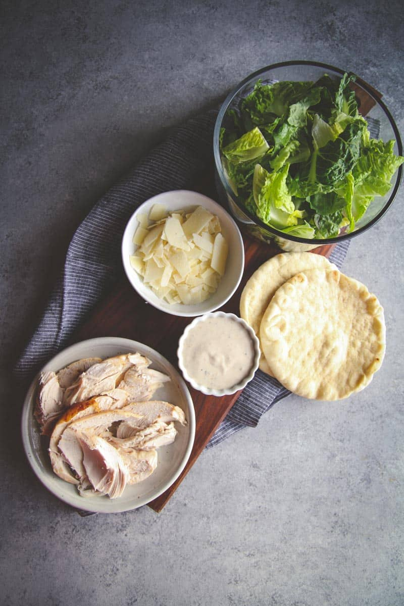 5 ingredient chicken Caesar pita wraps