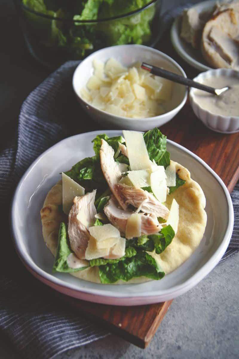 5 Ingredient chicken Caesar pita wraps recipe, easy chicken dinner recipe