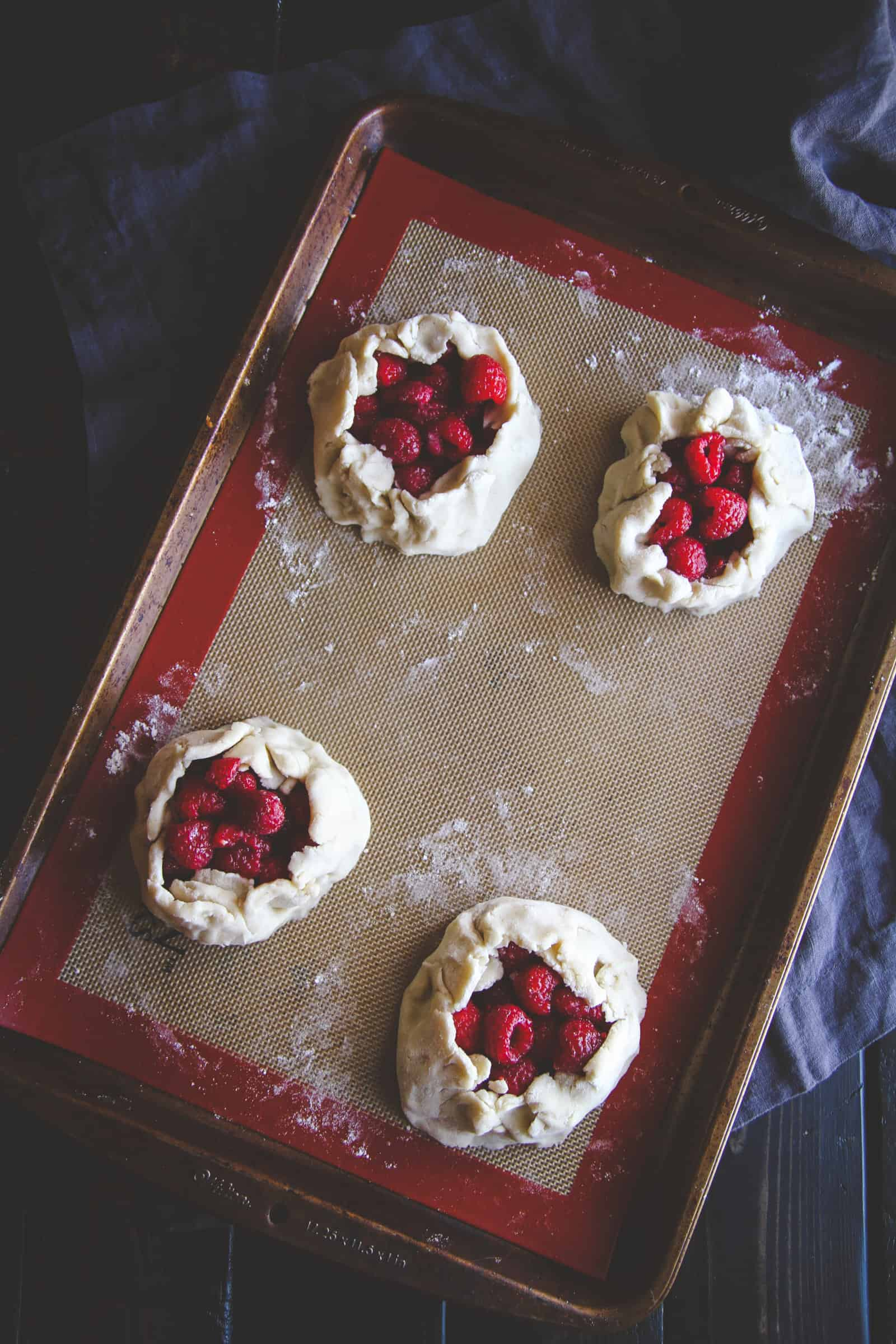 Gluten free 5 ingredient mini raspberry galettes