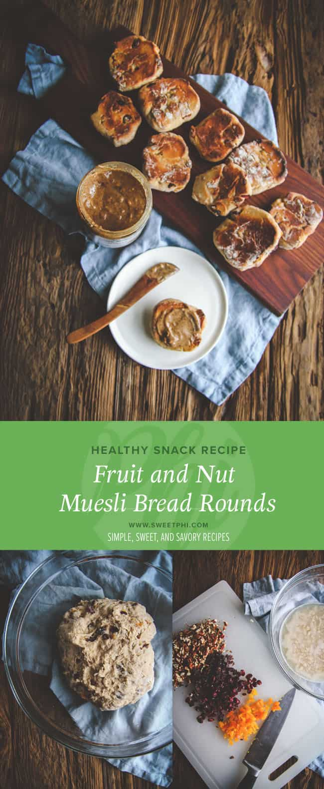 Fruit and nut muesli bread rounds are a great recipe to use when trying to replicate a Starbucks protein box! Also great for a quick, healthy snack