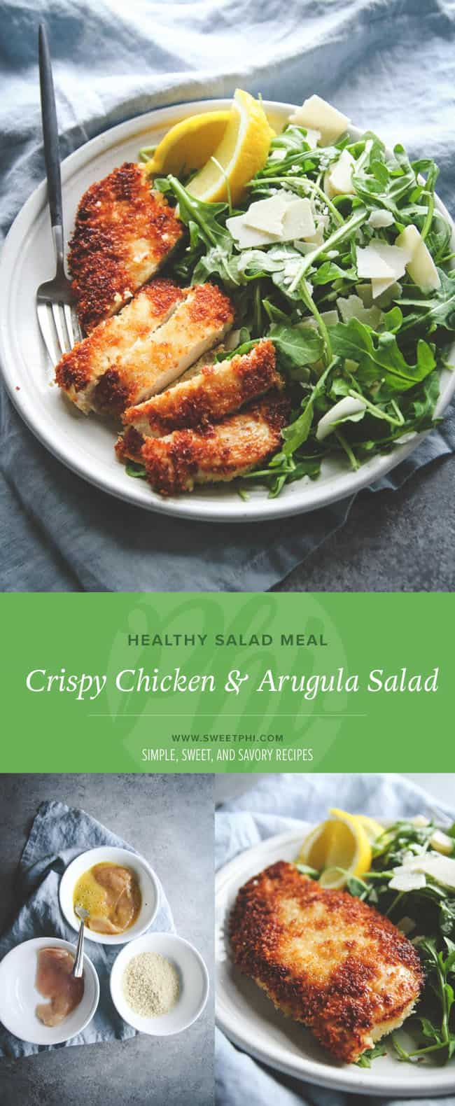 A super simple main meal that's healthy and delicious! A crispy chicken and arugula salad is the perfect meal to whip up.