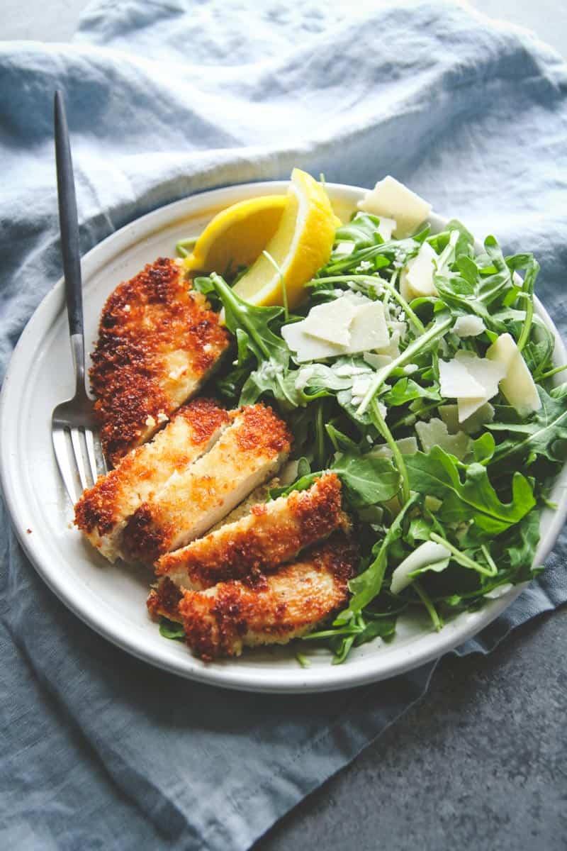 Crispy chicken with arugula parmesan and lemon salad recipe