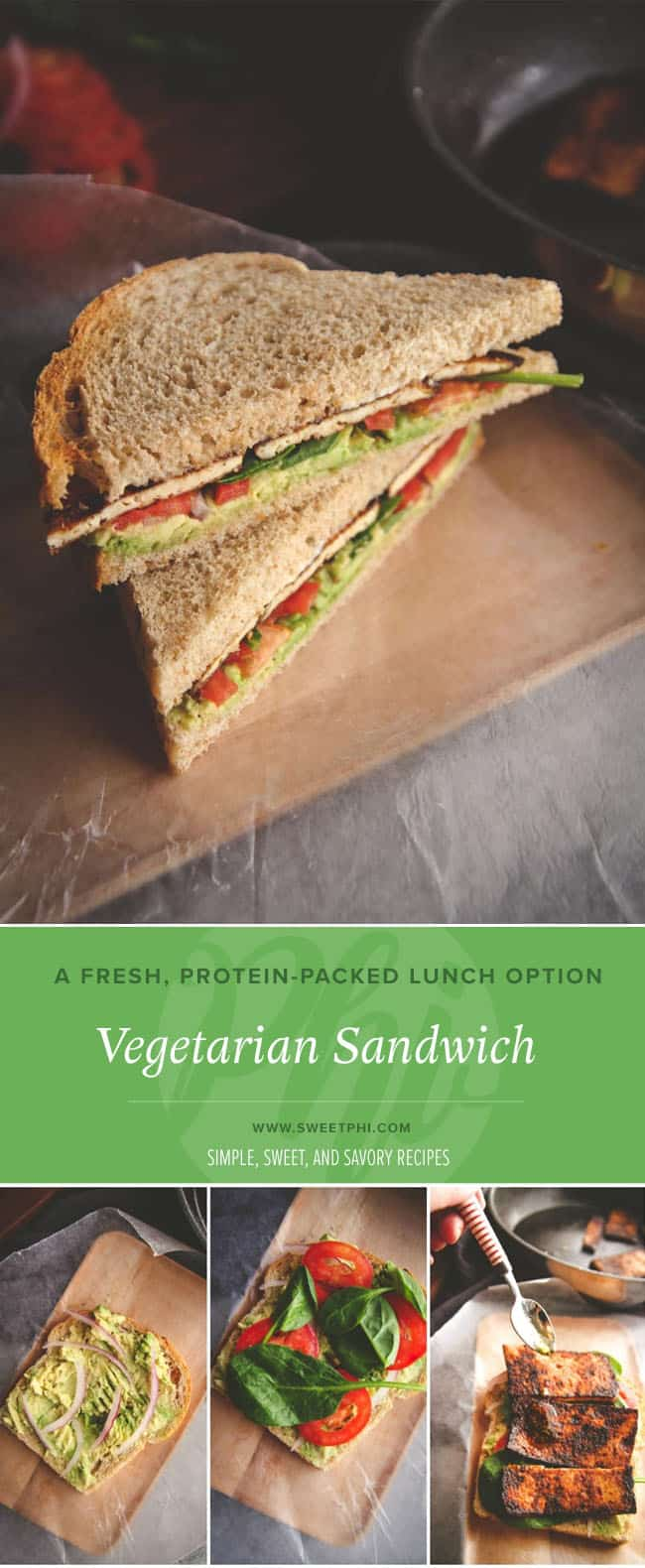 simple lunch recipe, vegetarian sandwich using fresh ingredients