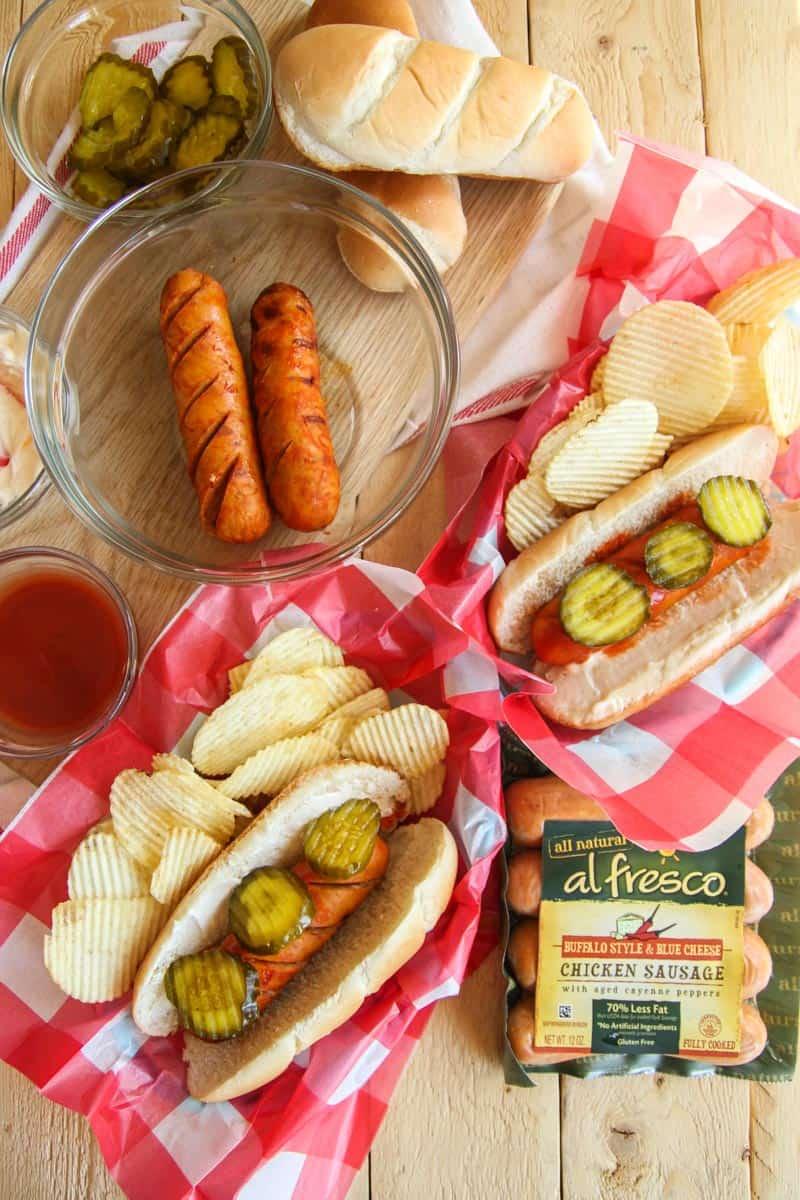 5 ingredient grilled hot chicken sausage recipe, fancy sausage recipe, easy weeknight grilling recipe