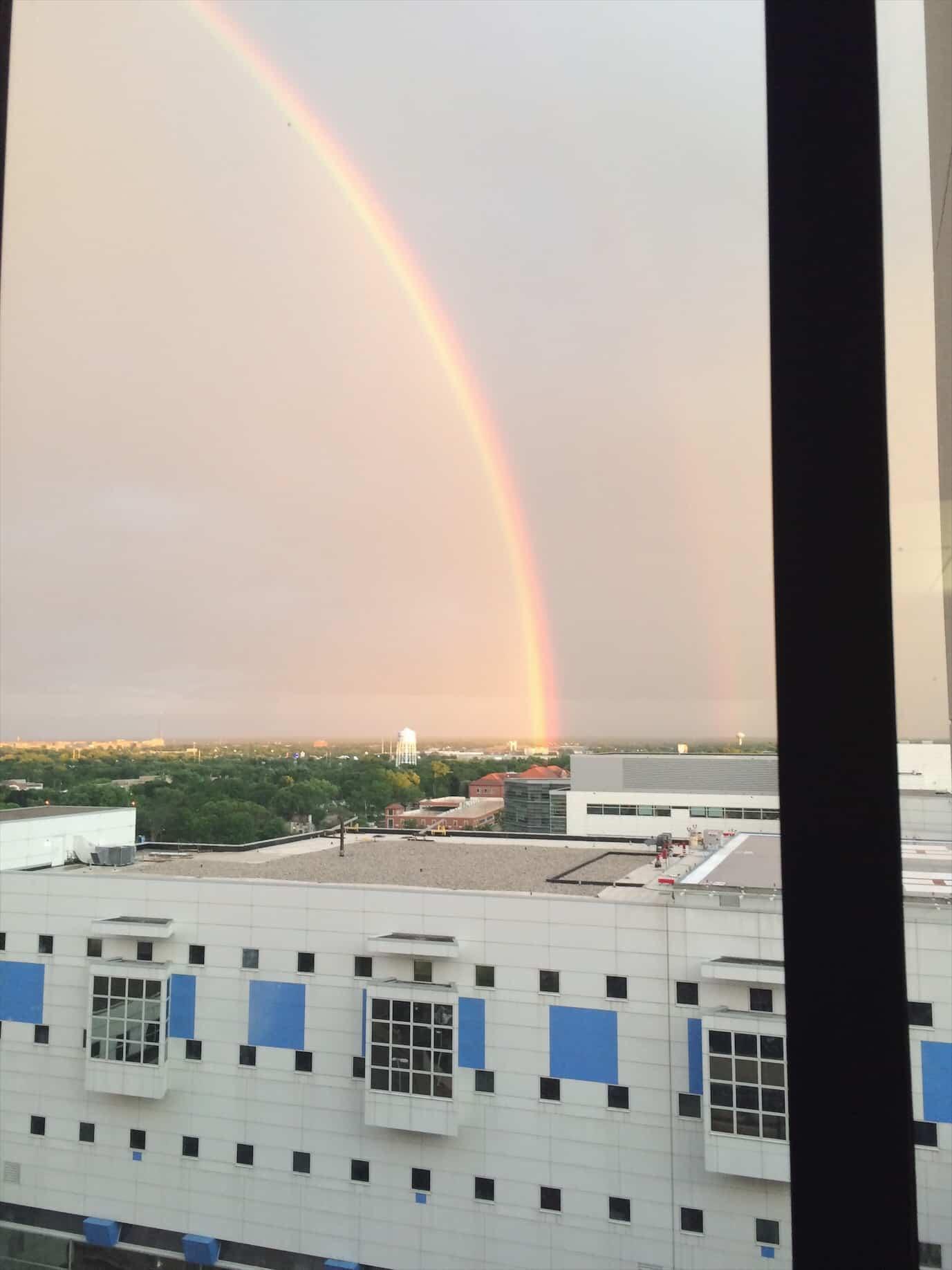 Rainbow out of hospital window