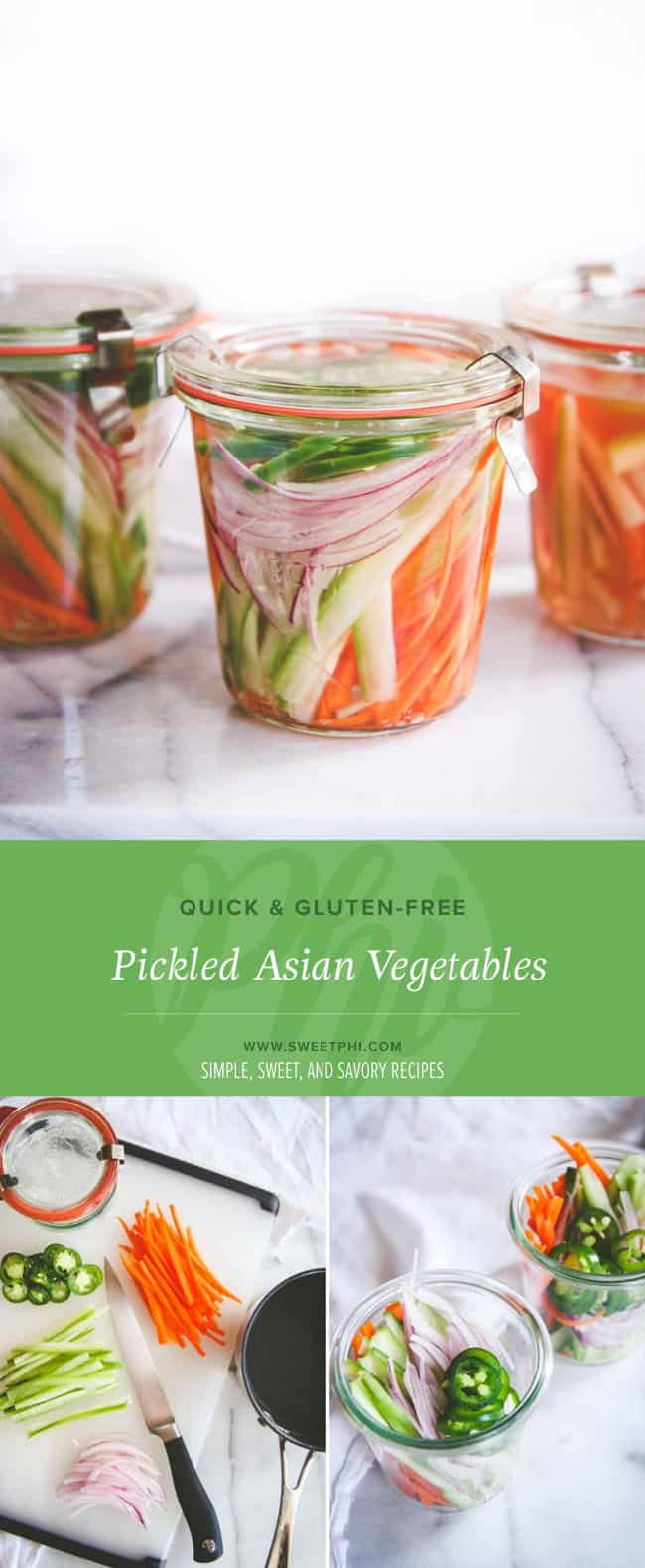 These are the easiest quick item to make to add a quick hit of Asian flavor to your meal. Quick pickled Asian vegetables!