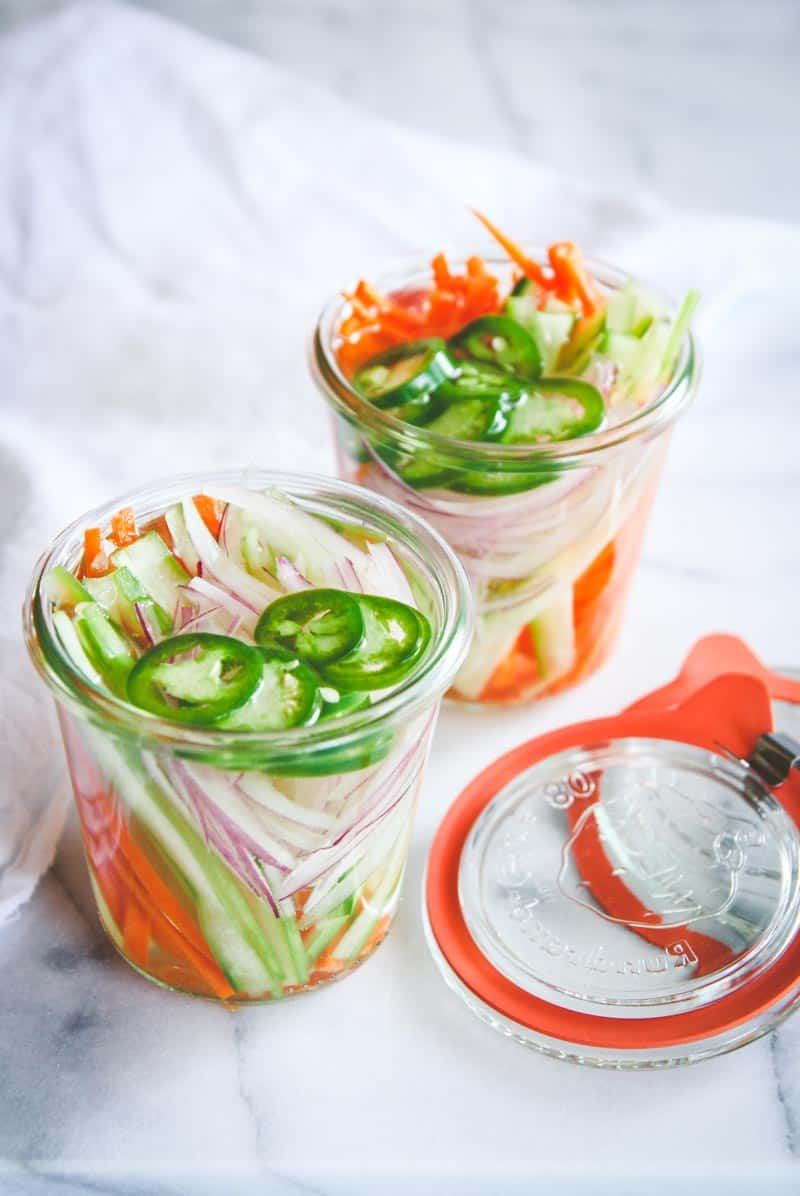 Quick pickled Asian vegetables, perfect overnight pickled vegetables, quick pickle recipe