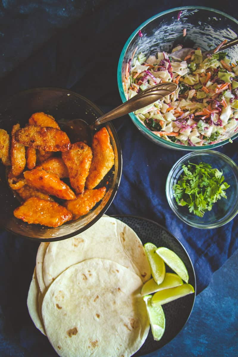 Sweet chili fish tacos with a creamy slaw