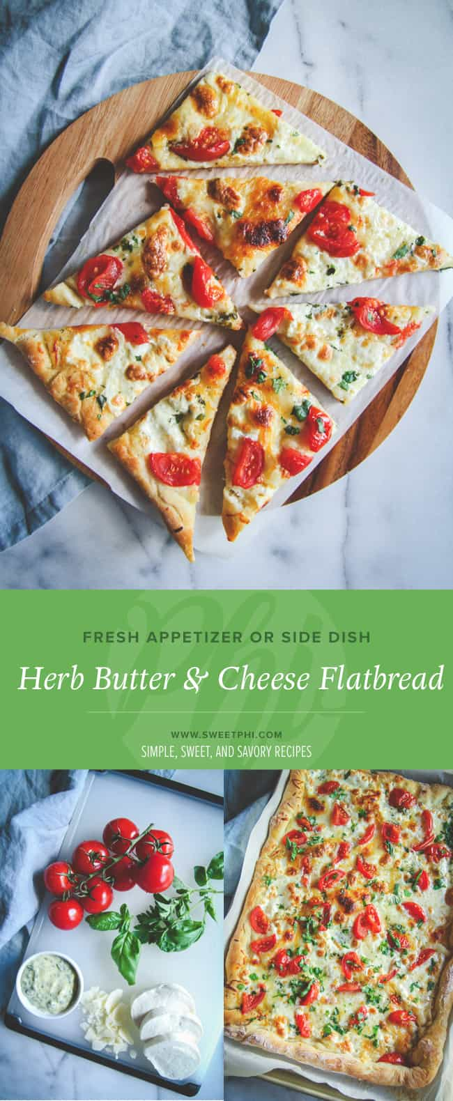 Make a tasty fresh herb butter to add to this flatbread, add cheese and seasonal toppings for an amazing quick meal
