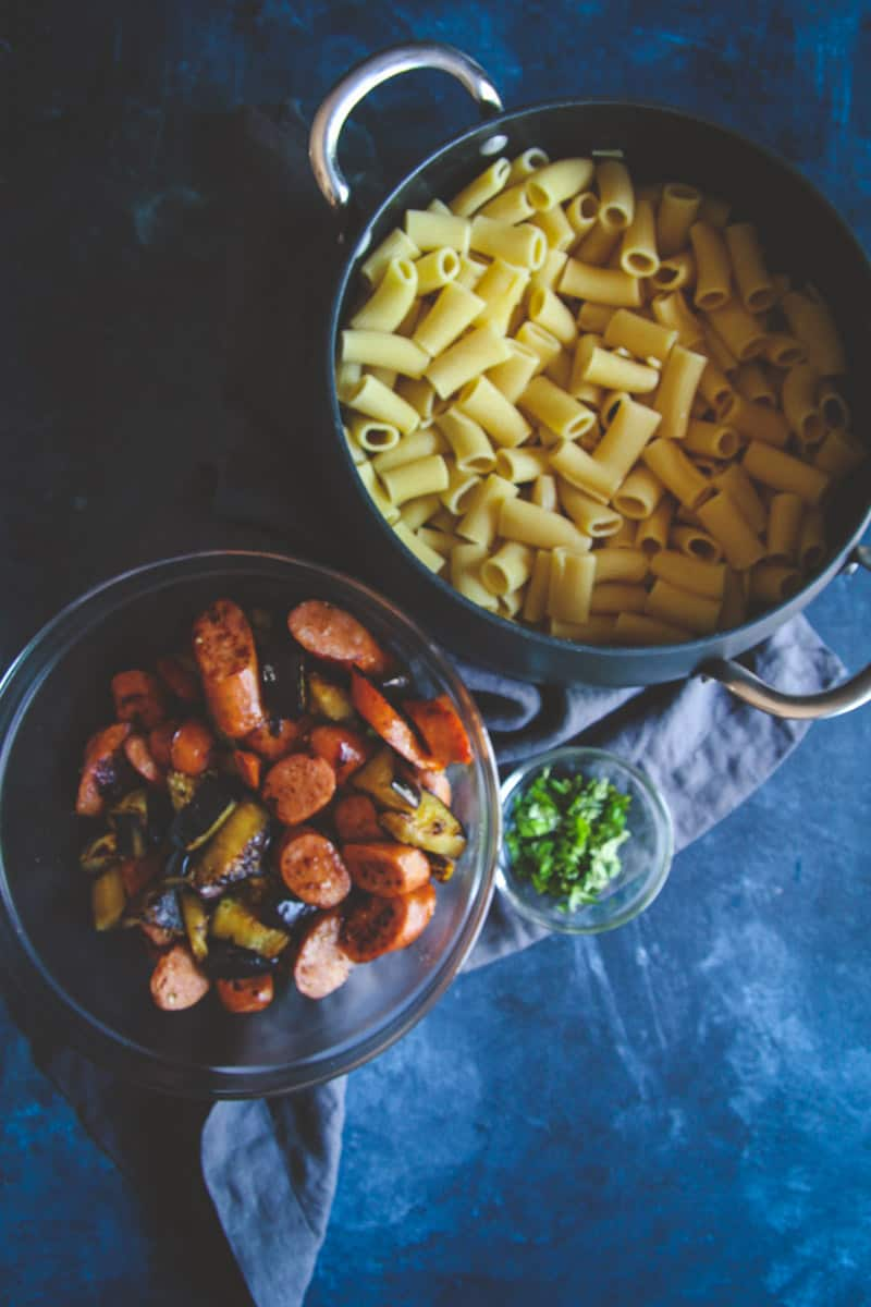 5 ingredient rigatoni pasta with eggplant chorizo and basil
