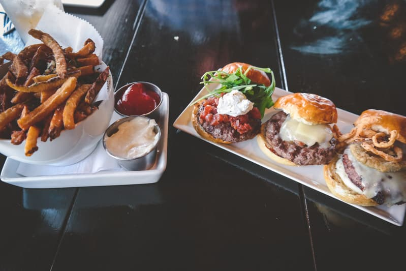 Micro burgers and fries at Firefly tosa