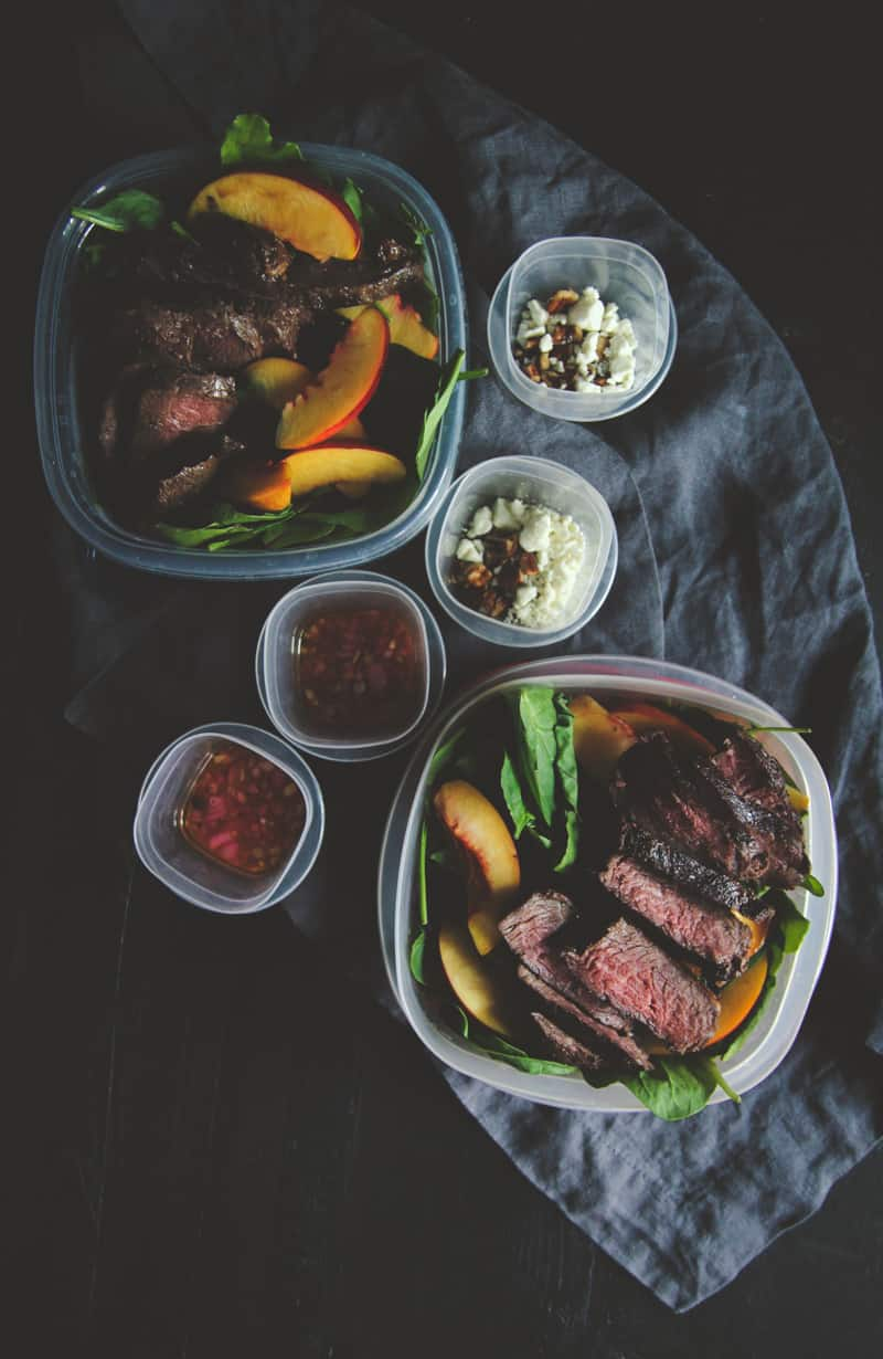 Meal prep steak and nectarine salad
