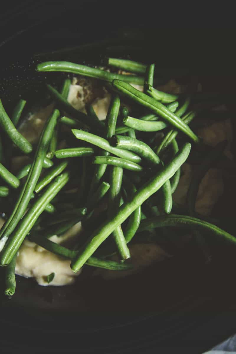 5 ingredient slow cooker chicken stuffing and green beans recipe, easy chicken crockpot dinner recipe