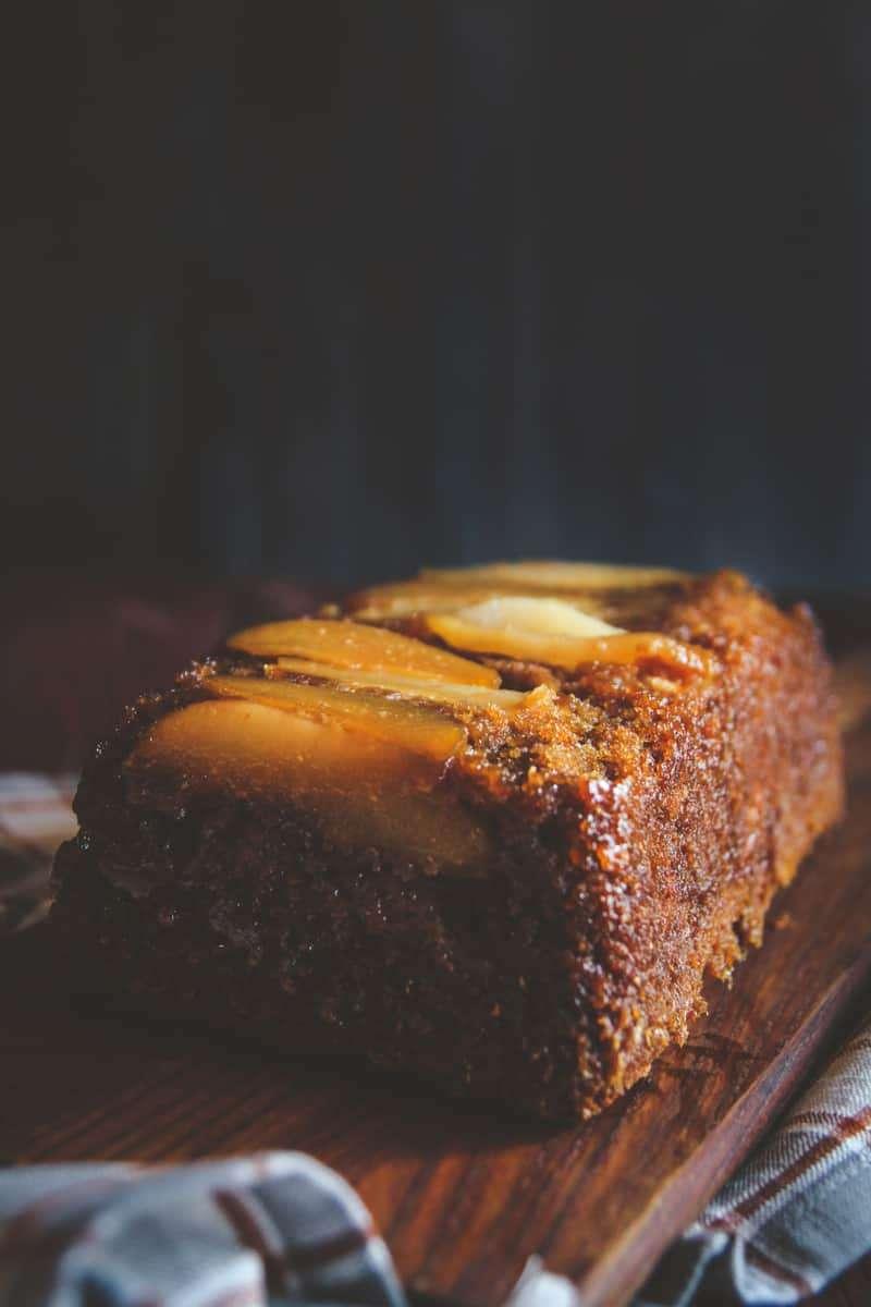 Upside down apple and par loaf recipe, fall apple recipe, pear and apple recipe, upside down pear and apple loaf