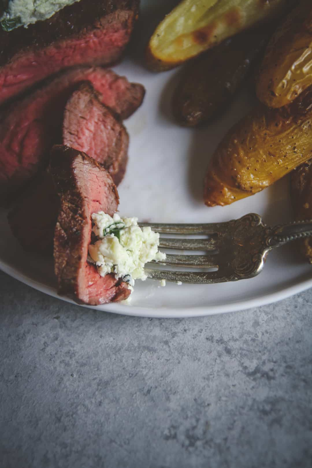 Steak with blue cheese compound butter from Home Chef, the best meal delivery service, meal delivery comparison, home chef review