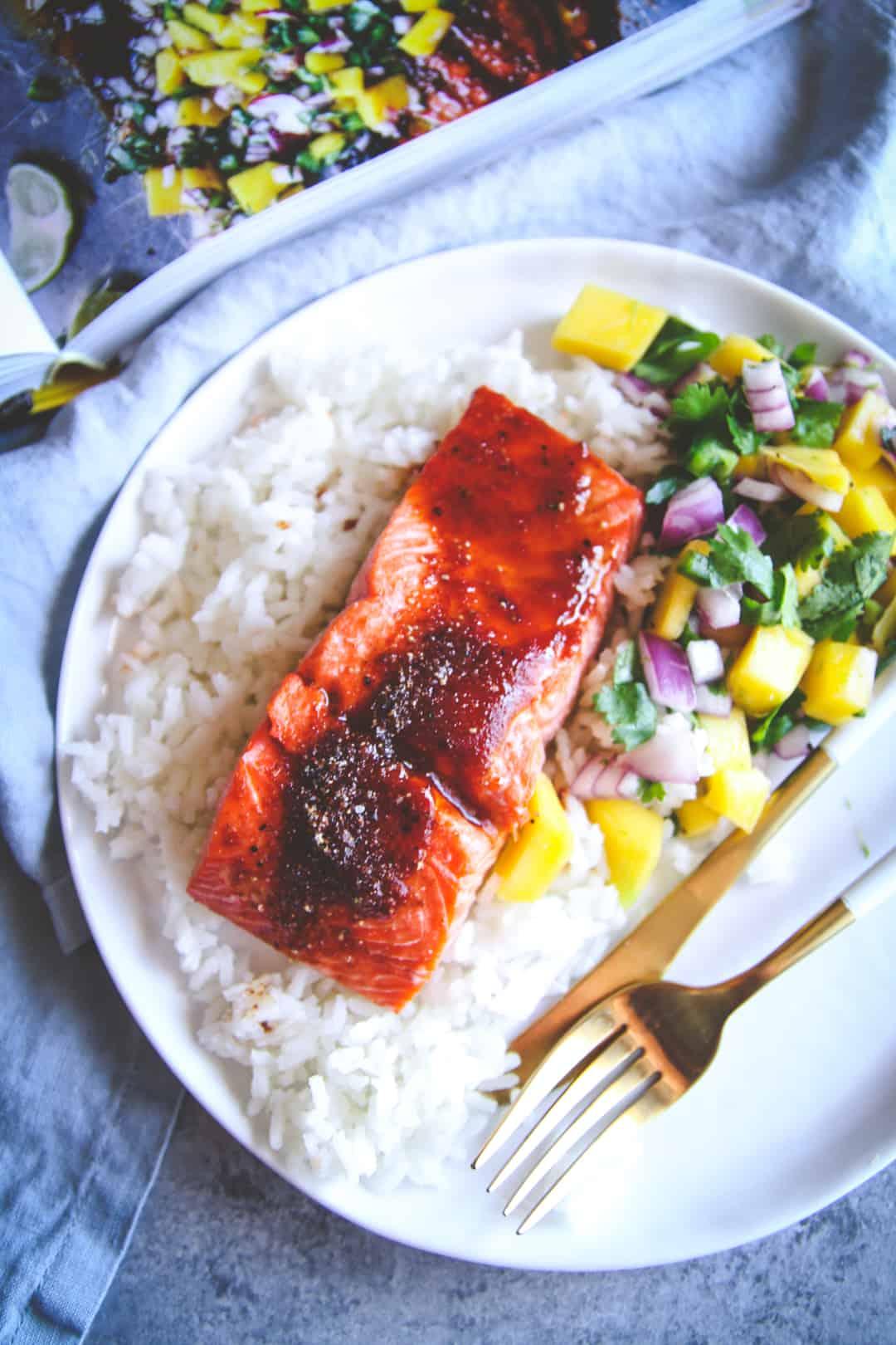 Baked BBQ Salmon With Mango Salsa Recipe