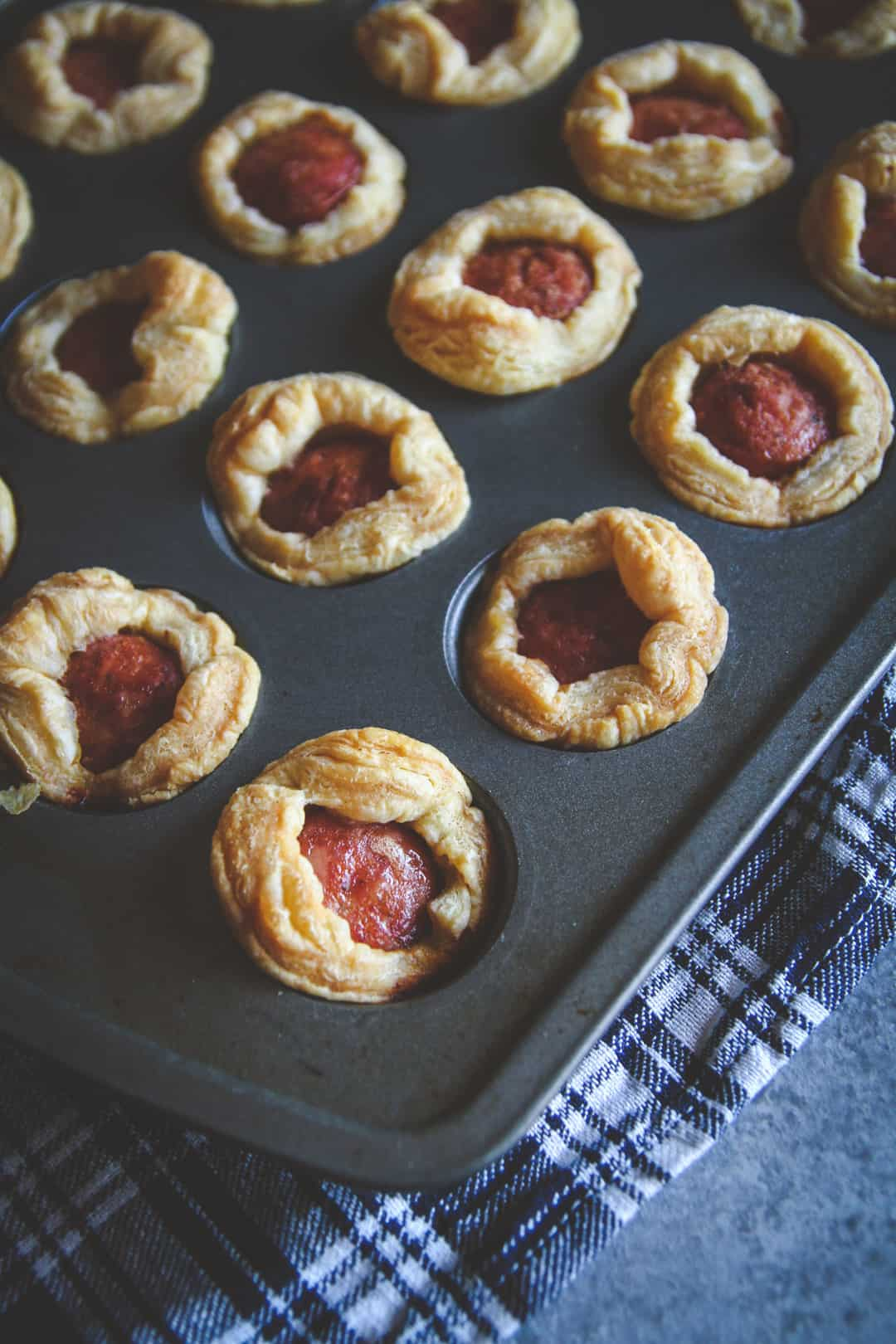 Sausage puff pastry appetizer recipe, 5 ingredient Polish sausage appetizer recipe