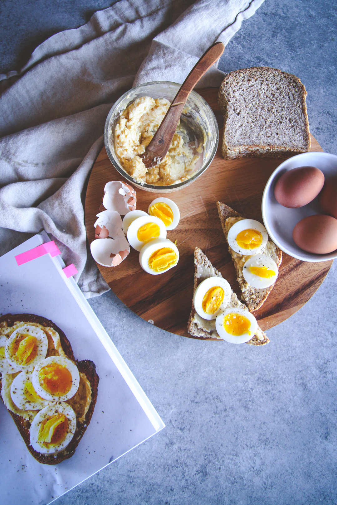 Meal prep breakfast - make ahead healthy breakfast - miso butter and egg toast