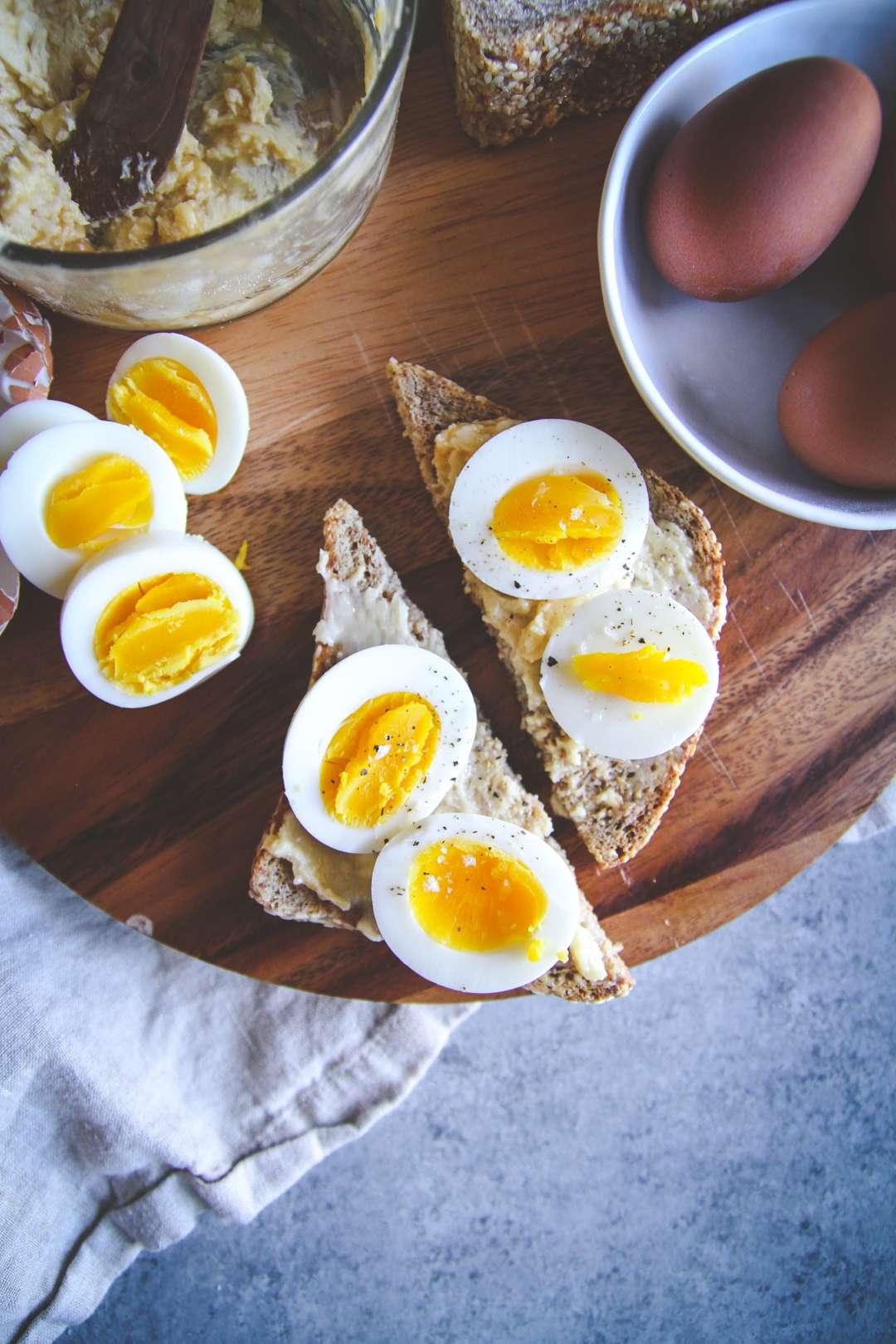 Miso butter egg toast, meal prep breakfast recipe, miso butter hard boiled egg healthy toast breakfast, fancy toasts