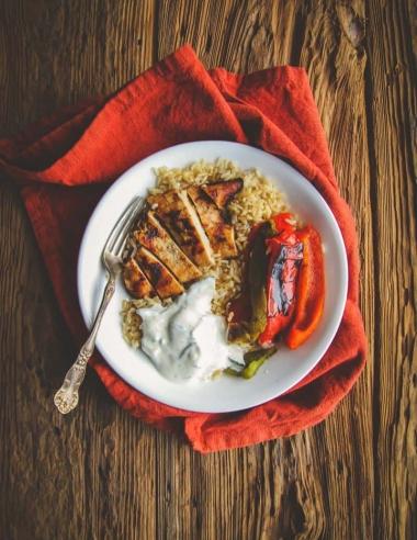5 Ingredient Greek Chicken Rice and Veggie Bowls