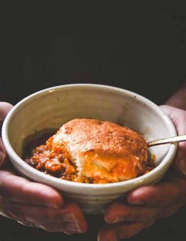 5 Ingredient Pumpkin Chili Biscuit Bake