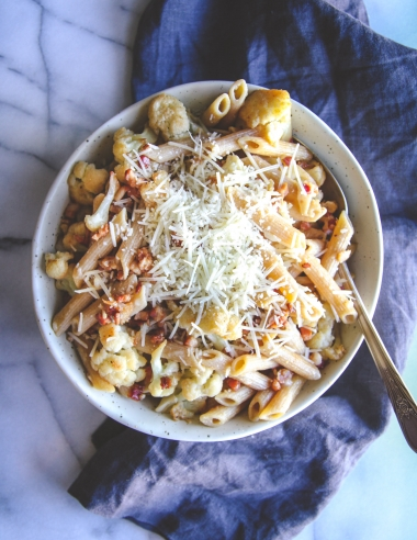 5 Ingredient Pancetta Parmesan Cauliflower Pasta Recipe