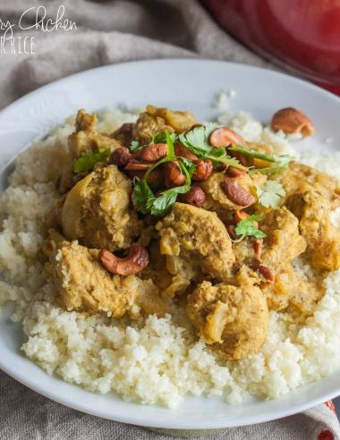 Creamy Cashew Curry Chicken Over Cauliflower Rice