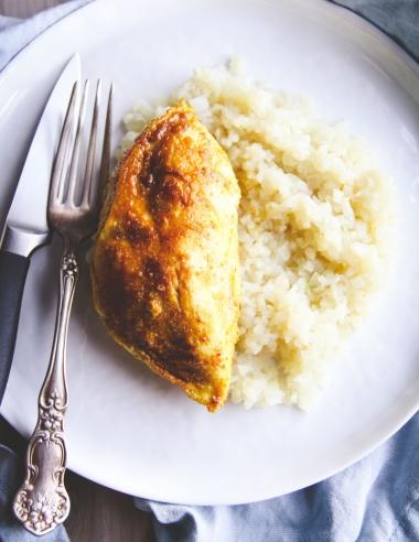 5 Ingredient Curry Chicken Over Coconut Cauliflower Rice