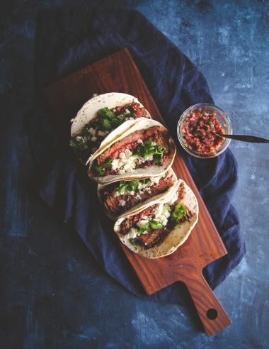 Steak Tacos with Cranberry Salsa Recipe