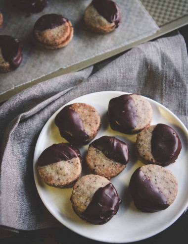 Chocolate Dipped Hazelnut Sandwich Cookies