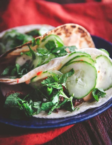 Korean Beef BBQ Tacos with Quick Pickled Cucumbers