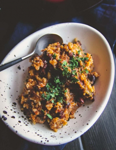 Slow Cooker 5 Ingredient Leftover Rice Chili Recipe